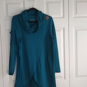 Neon buda Cowl neck sweatshirt size medium teal